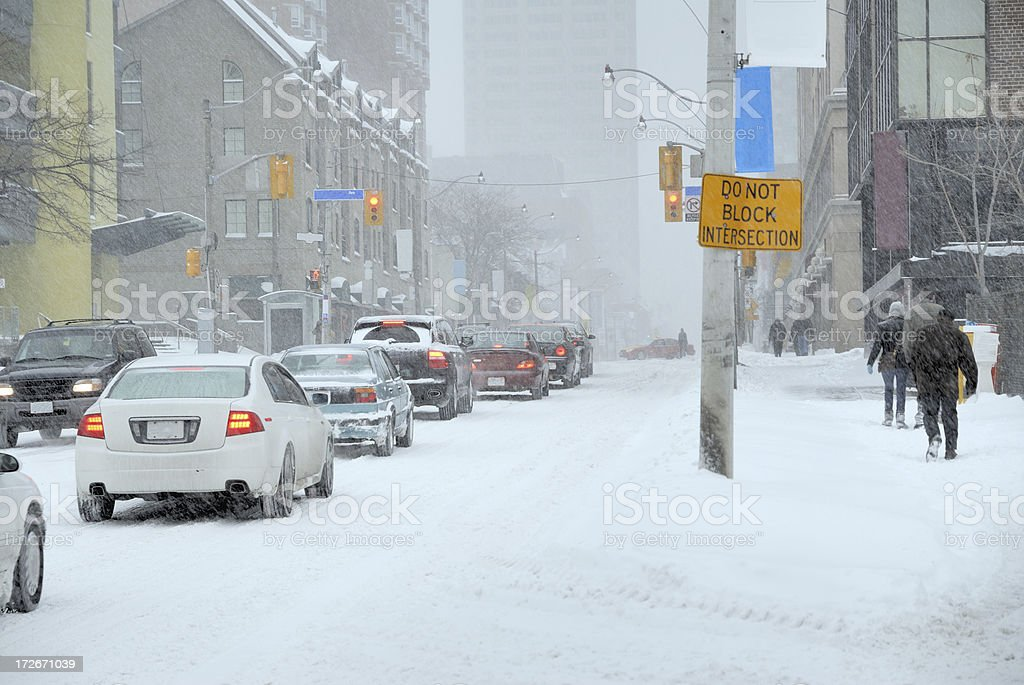Snow day traffic stock photo