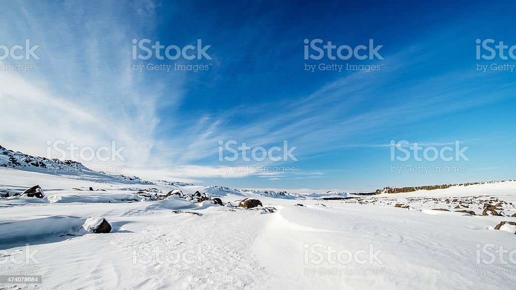 snow desert winter landscape in iceland stock photo