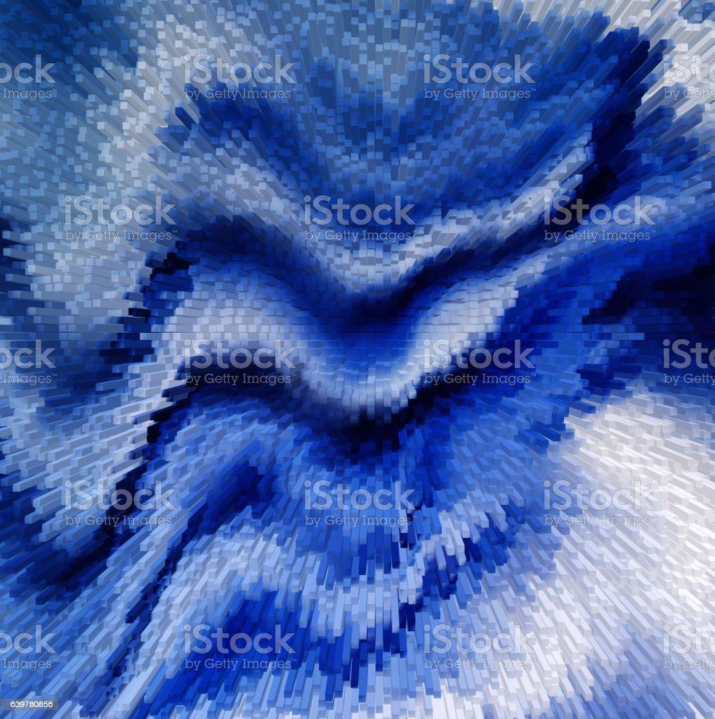 Snow dunes digital pixel extrude abstraction stock photo