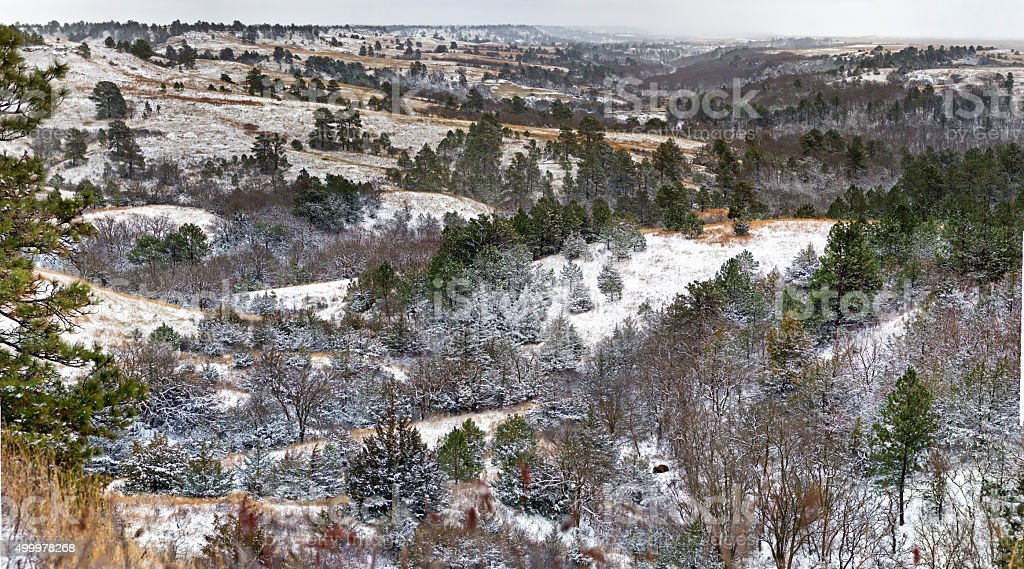 Snow dusted river valley stock photo