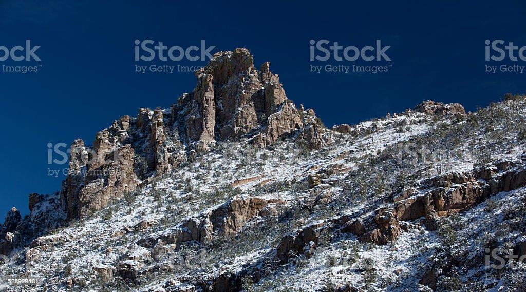 Snow dusts Catalina Mountain peak on Mt. Lemmon stock photo