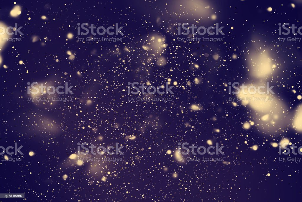 Snow Falling from Dark Night Sky. Digital Drawing. Blue Background stock photo