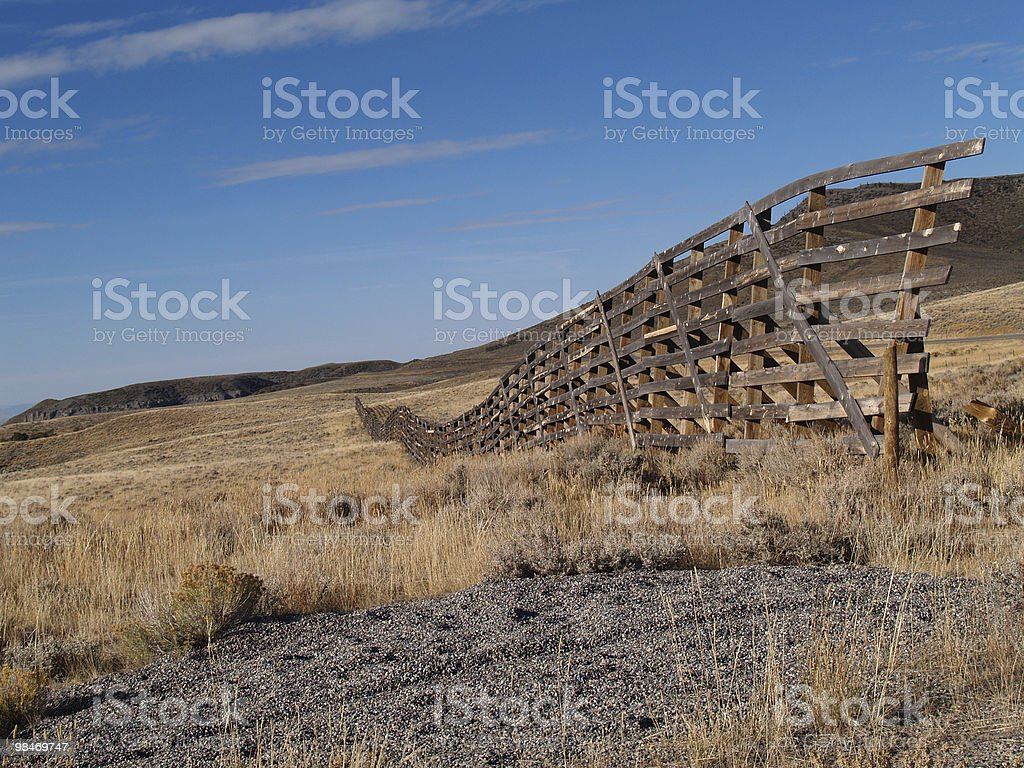 Snow Fence in Wyoming stock photo