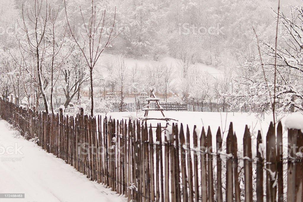 Snow fence royalty-free stock photo