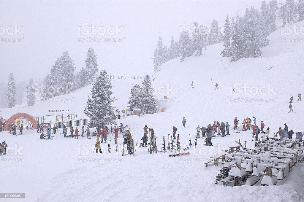 Snow Flurries in Skiing Resort stock photo