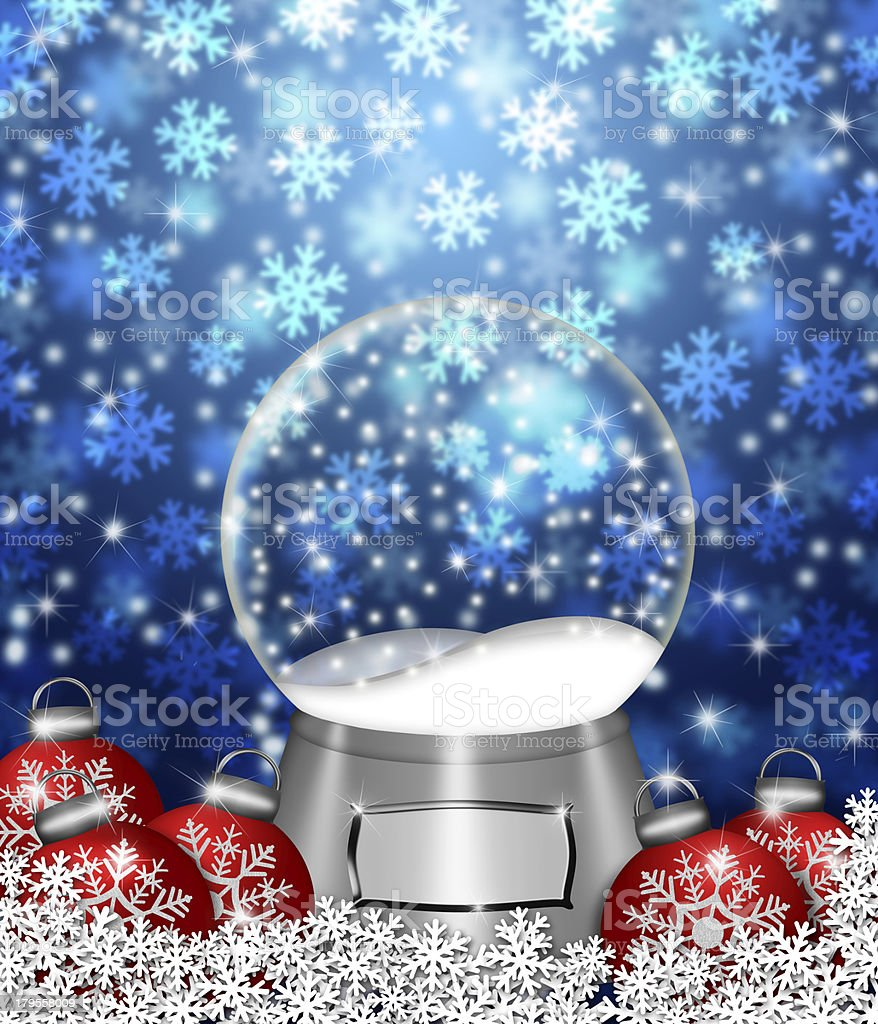Snow Globe Blank and Christmas Tree Ornaments stock photo