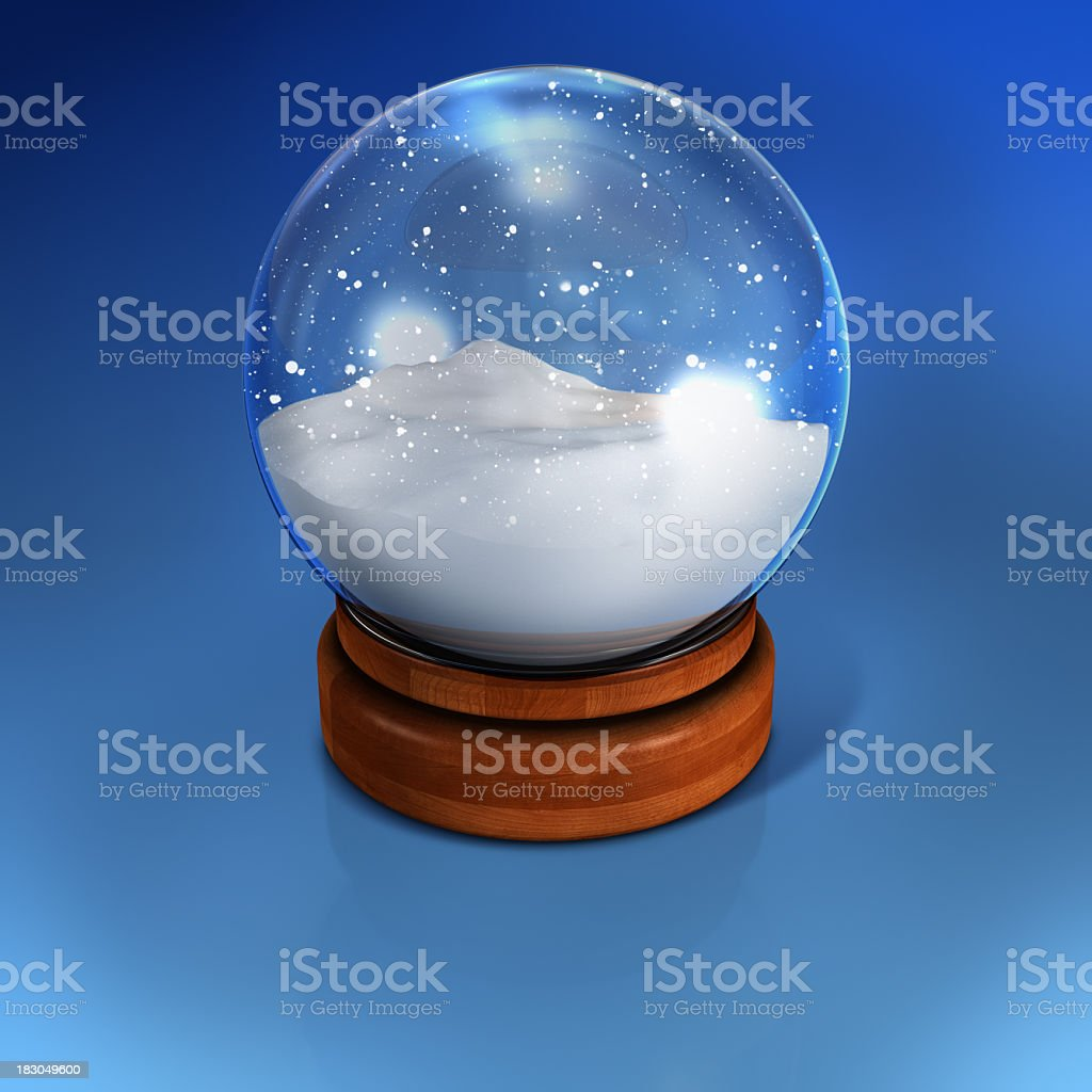 Snow globe containing nothing but snow stock photo