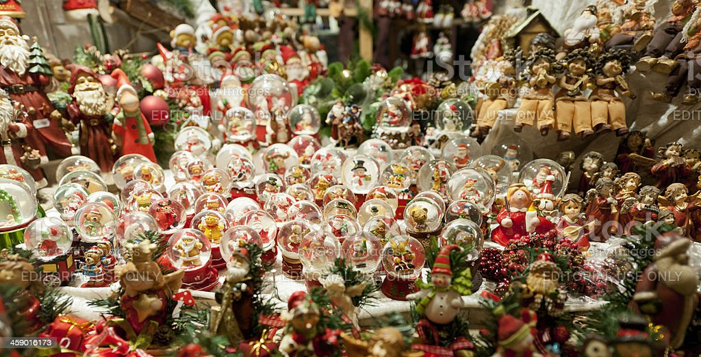 snow globes at Christmas Market in Dusseldorf Germany stock photo