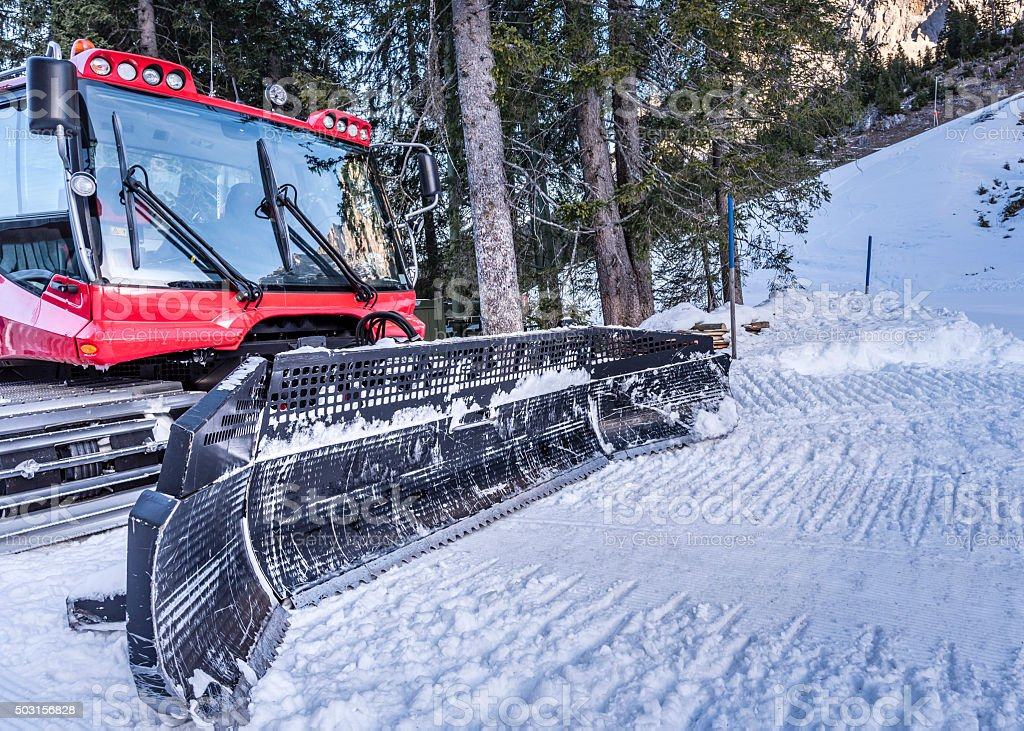 Snow groomer machine, front view stock photo