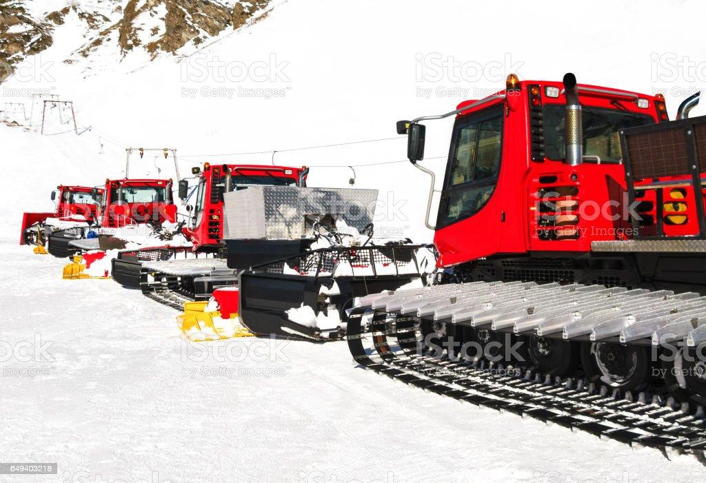Snow groomers stock photo