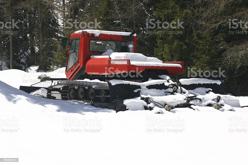 Snow grooming machine stock photo