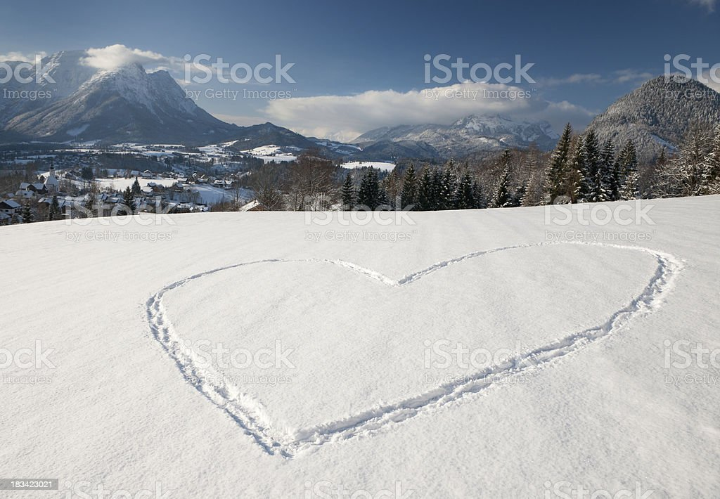 Snow Heart Love - Winter Panorama (XXL) stock photo