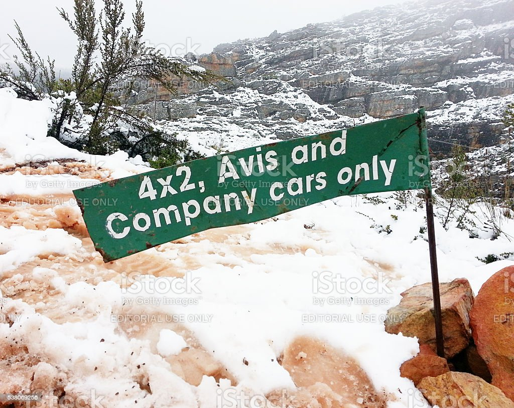 snow, humor, sign, South Africa, Ceres, mountain track, stock photo