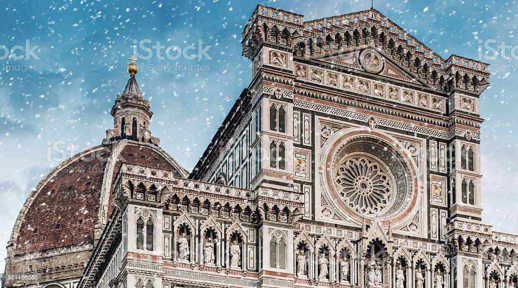 Snow in Florence Santa maria del fiore stock photo