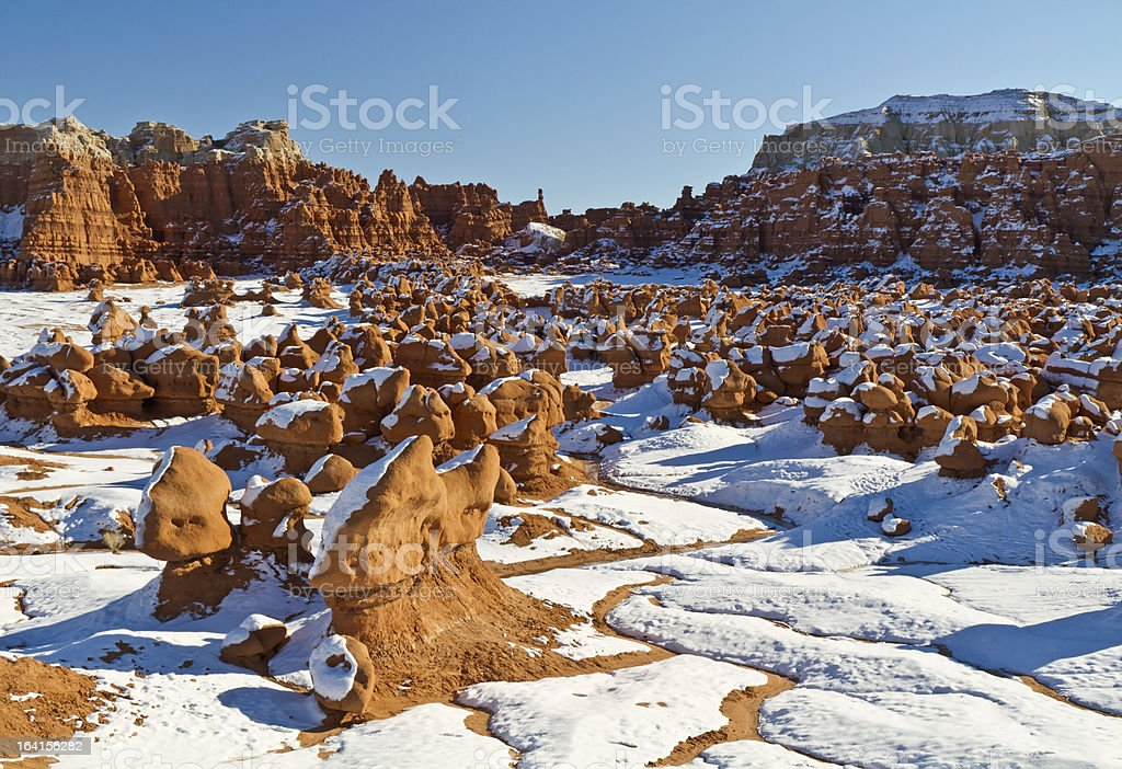 Snow in Goblin Valley royalty-free stock photo