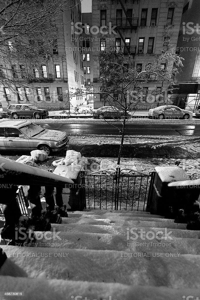 Snow in Harlem Manhattan New-York Black and White royalty-free stock photo