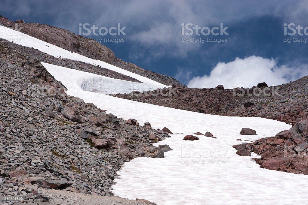Snow in high mountain stock photo
