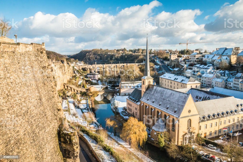 Snow in Luxembourg city winter 2017 snowy day stock photo