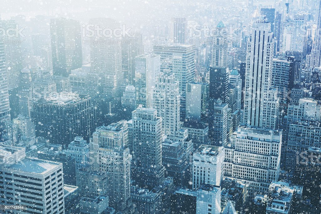 Snow in New York City - fantastic image stock photo