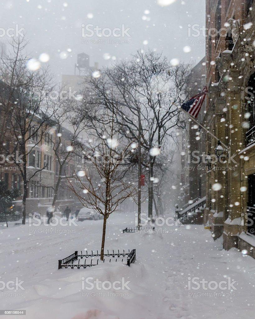 Snow in New York City stock photo