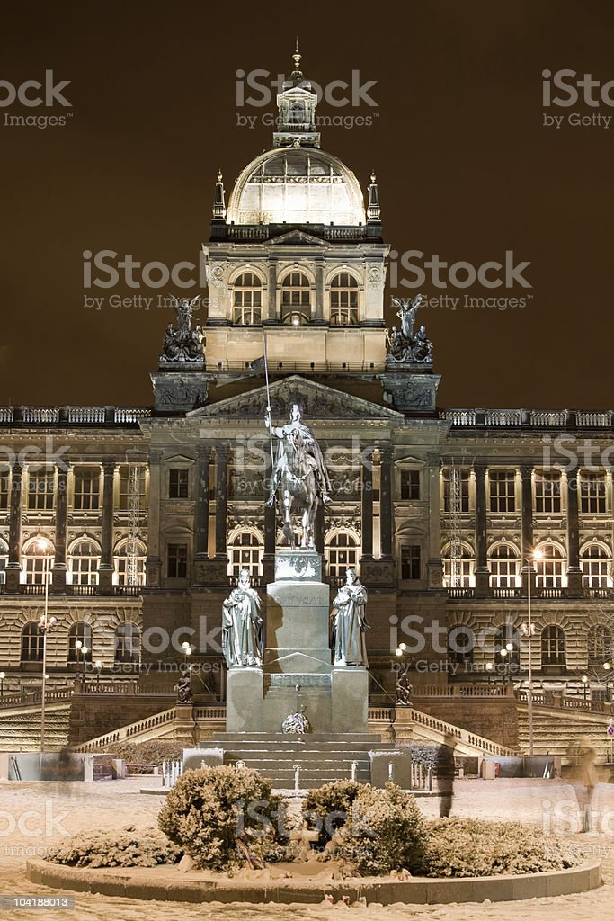 Snow in night Prague stock photo