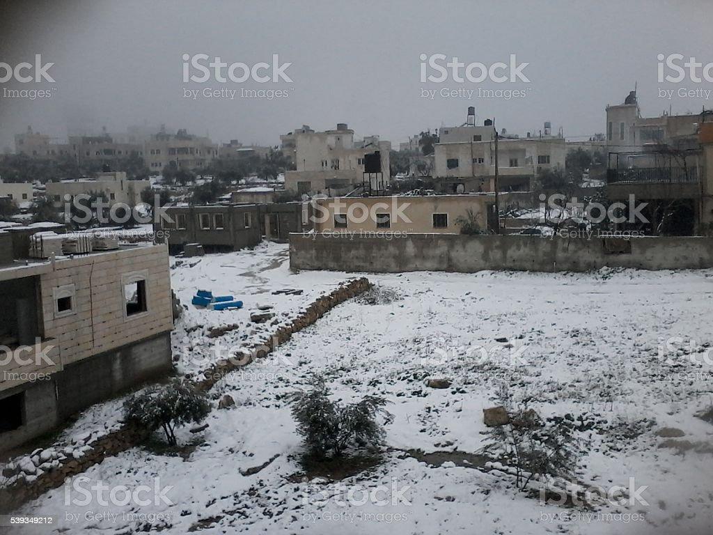 snow in Palestine stock photo