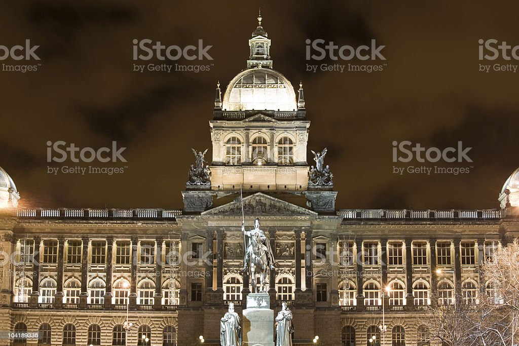 Snow in Prague stock photo