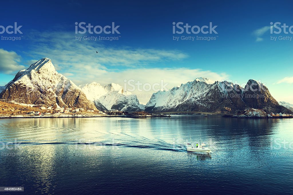 snow in Reine Village, Lofoten Islands, Norway stock photo