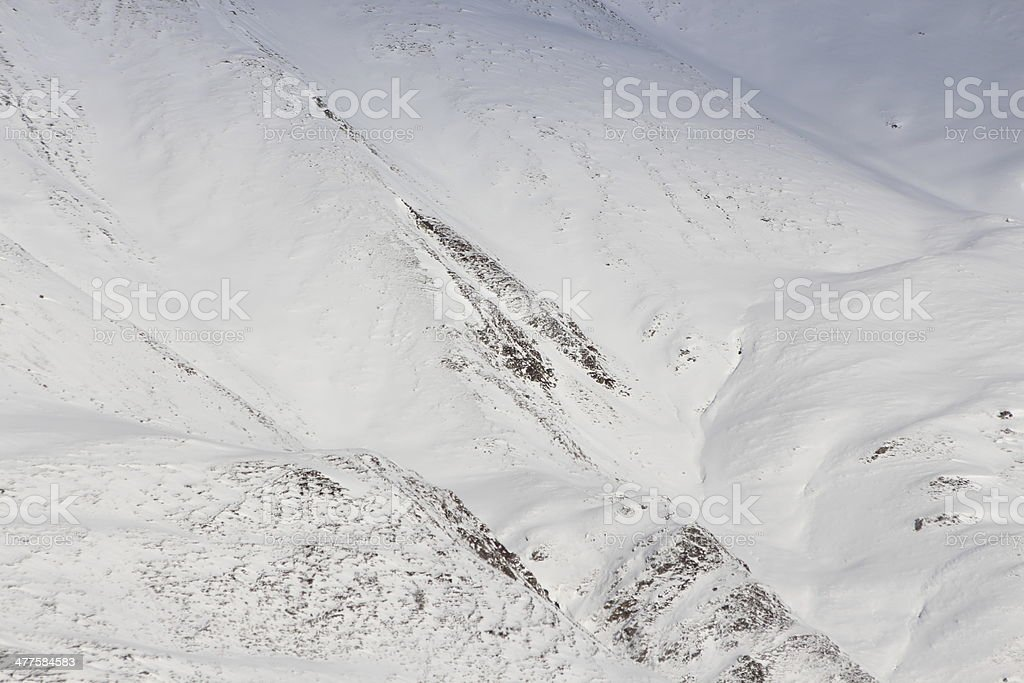 Snow in the Alpine Mountains, Zirmbach, Kühtai, Sellraintal, Tyrol, Austria royalty-free stock photo