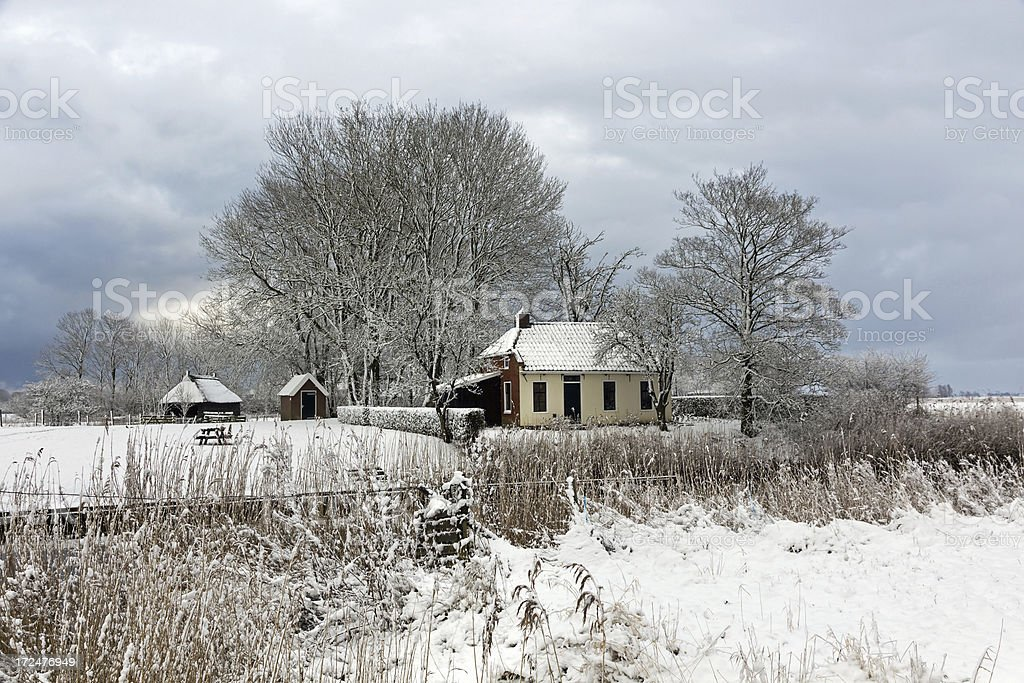 Snow in the Netherlands stock photo