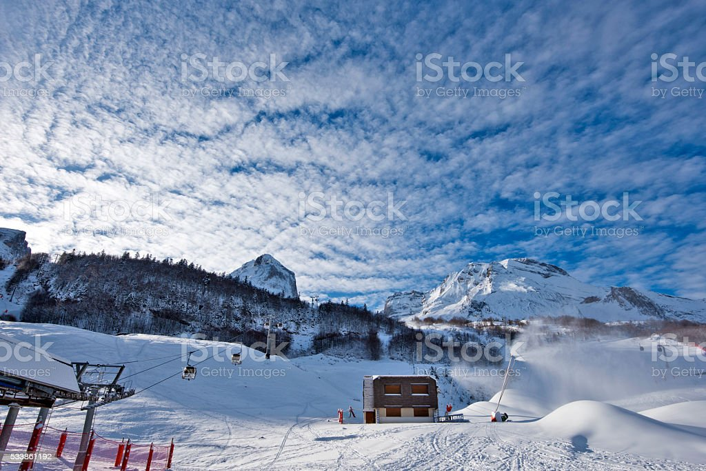 Snow lances in action in Gourette Ski resort stock photo
