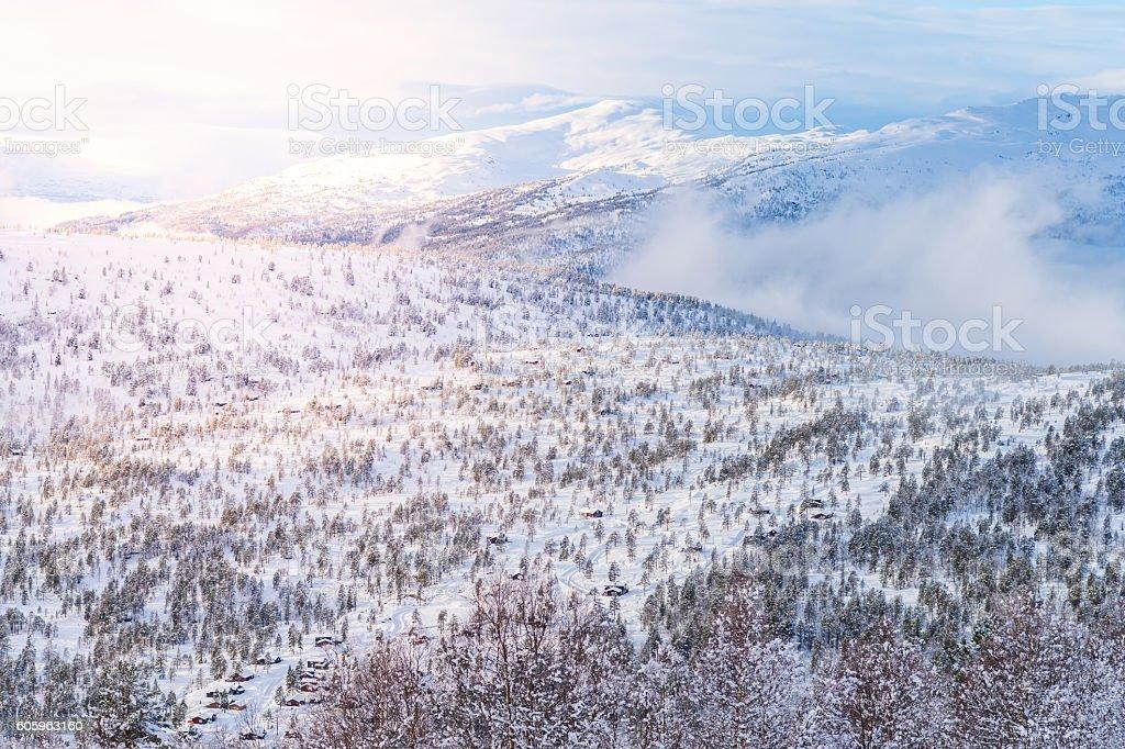 snow landscape - Stryn (Norway) stock photo