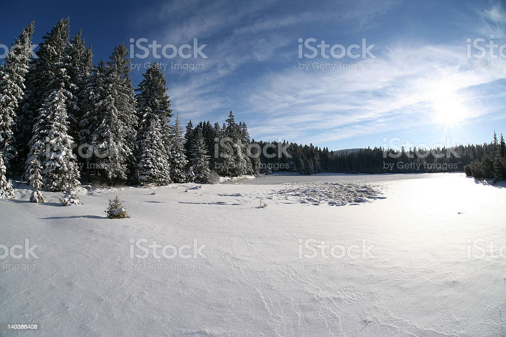 snow landscape & the lake royalty-free stock photo
