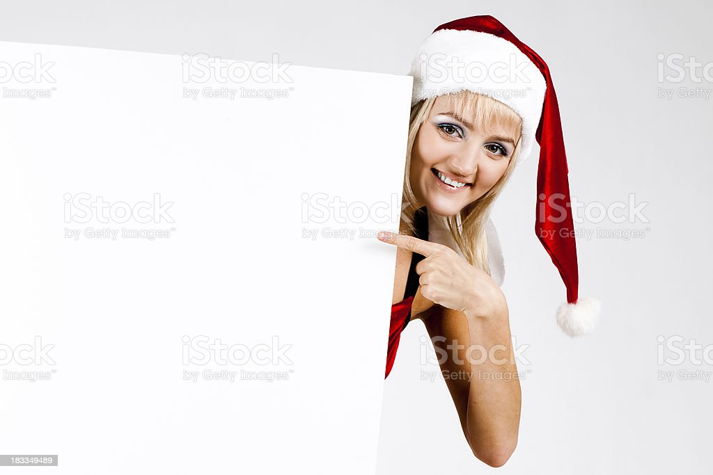 Snow Maiden holding a sign stock photo