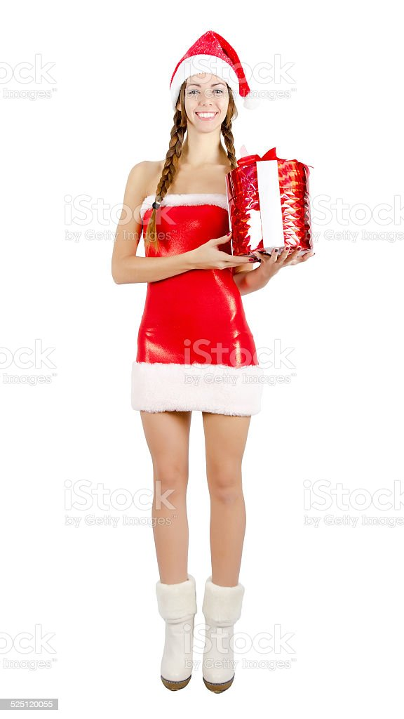 Snow Maiden in red dress holding a box stock photo