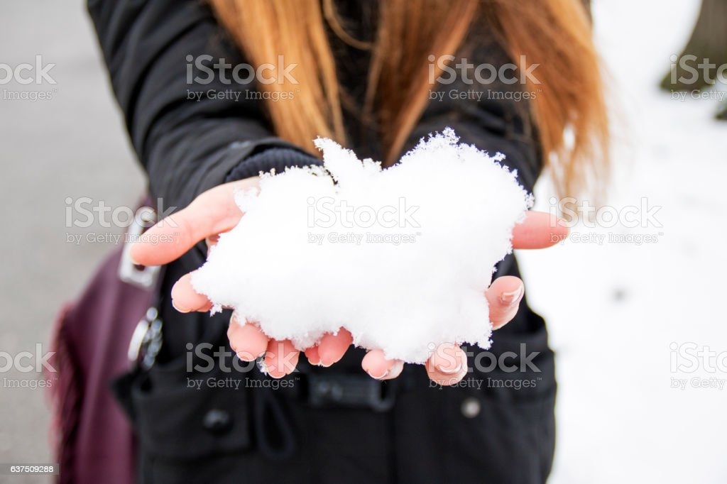 Snow makes everyone feel like a kid again stock photo