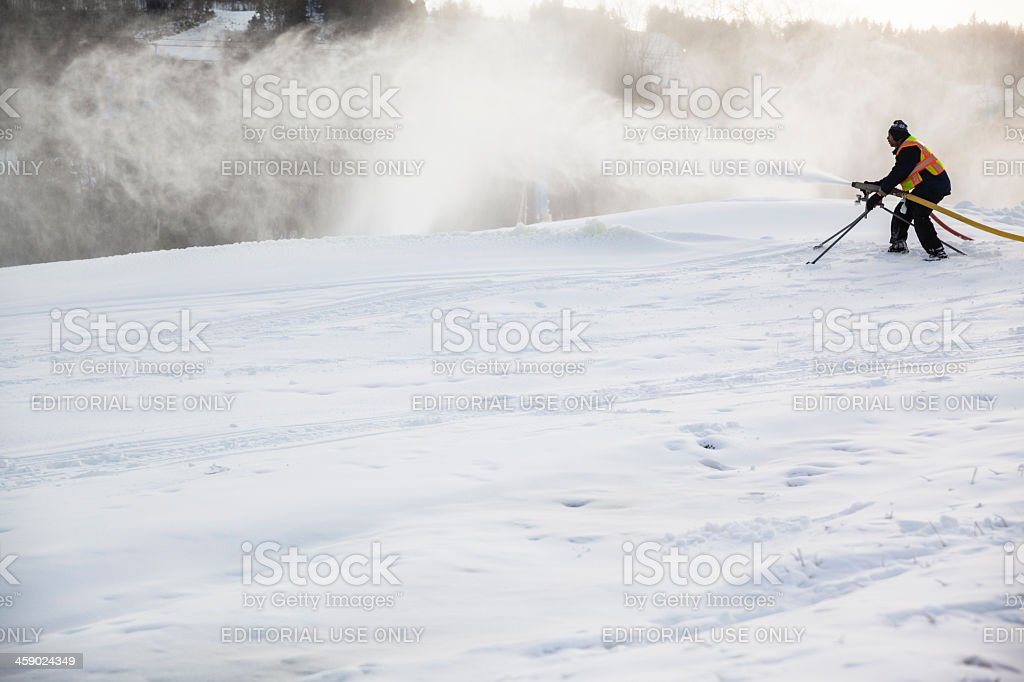 Snow Making in the sky resort Camel Back, Pennsylvania, Pocono royalty-free stock photo