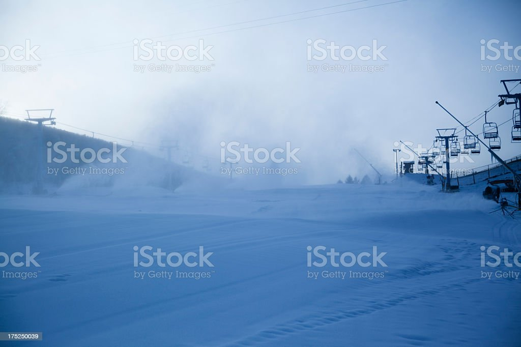 Snow Making in the sky resort royalty-free stock photo