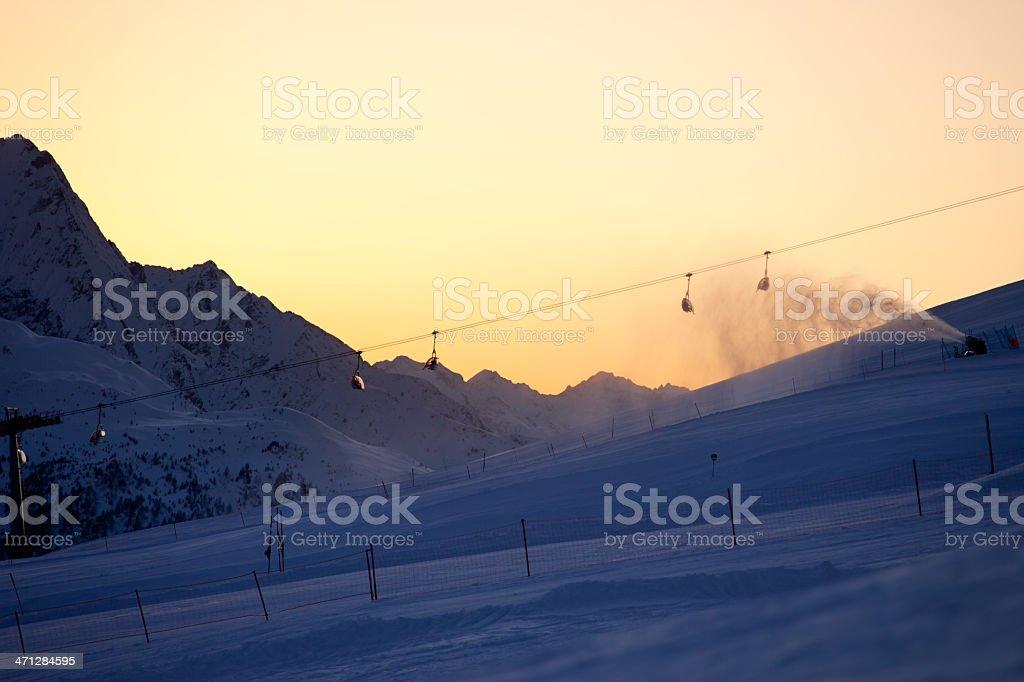 Snow making machine stock photo
