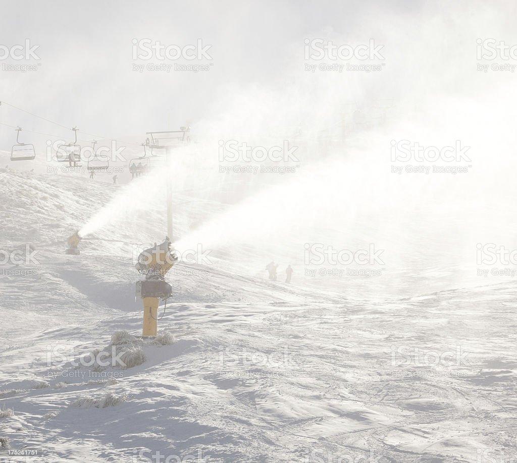 Snow making,Coronet Peak, Queenstown, New Zealand royalty-free stock photo