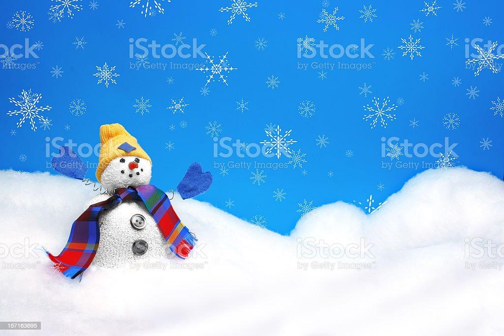 Snow Man with Snowflakes stock photo