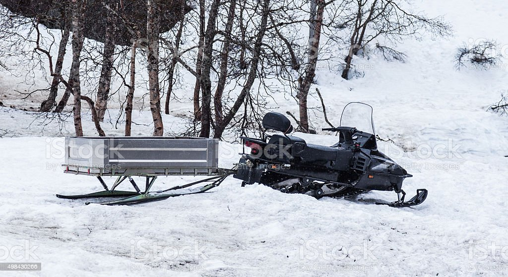 snow mobile and trailer stock photo