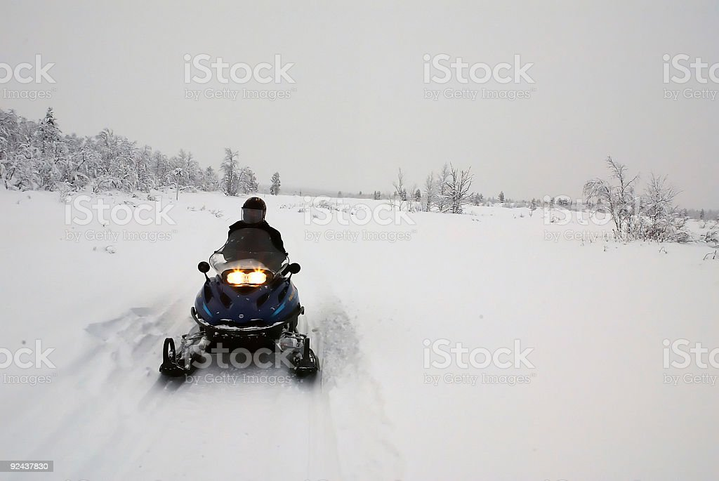 Snow Mobile Finland Lapland stock photo