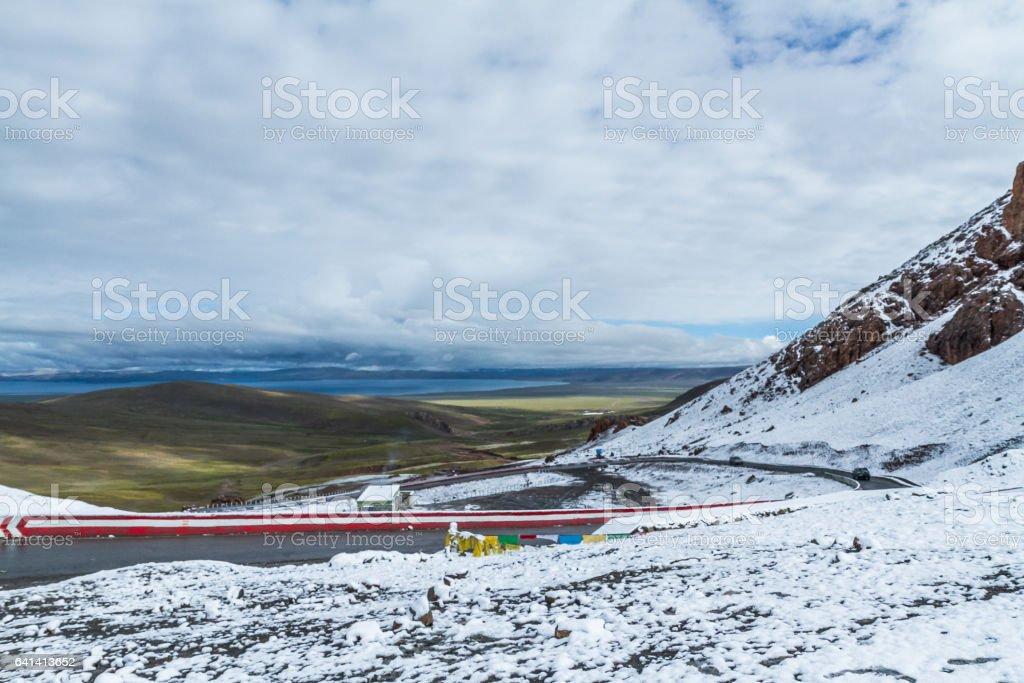 snow mountain and Lake Namtso stock photo