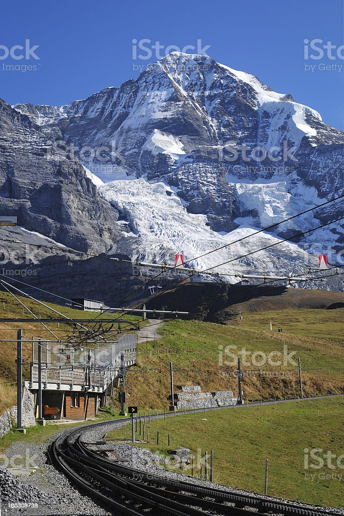Snow Mountain and Railway Station - XLarge royalty-free stock photo