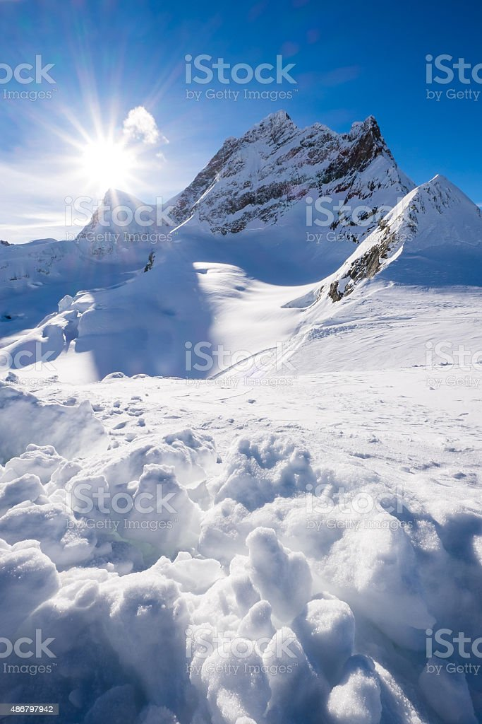 Snow mountain at Jungfraujoch, Switzerland stock photo