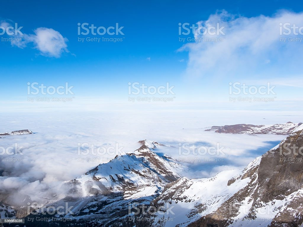 Snow mountain at Jungfraujoch Top of Europe stock photo