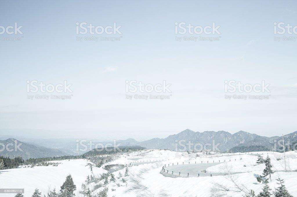 Snow mountain at Kurobe alpine in Japan stock photo