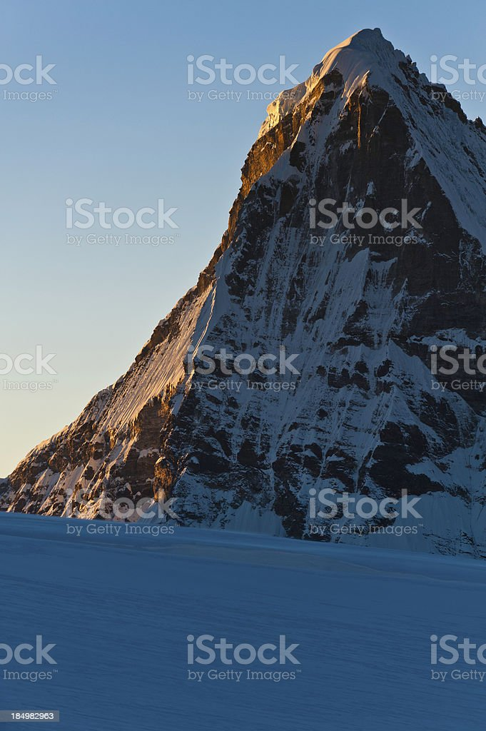 Snow mountain dawn Himalayas Nepal stock photo