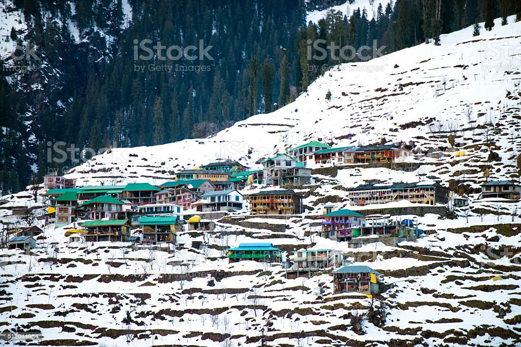 Snow Mountain Houses India stock photo